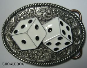 Rodeo Dice Belt Buckle + display stand